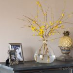forsythia branches decorate the foyer ~ forcing forsythia ~ gardenmatter.com