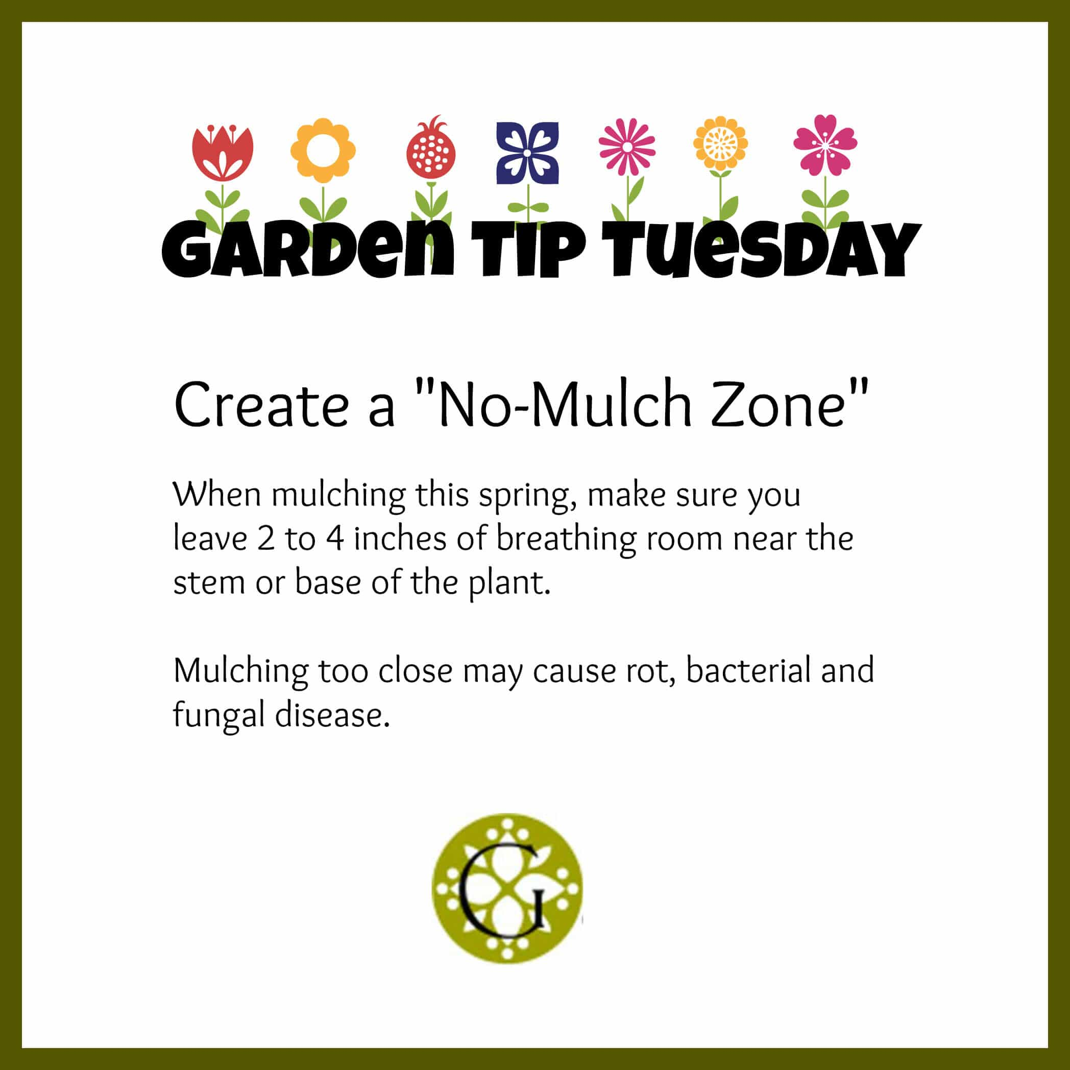 Garden Tip - No Mulch Zone