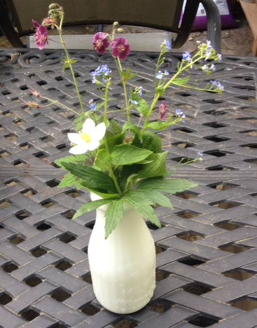 Simple Bouquet in Milk Glass Vase