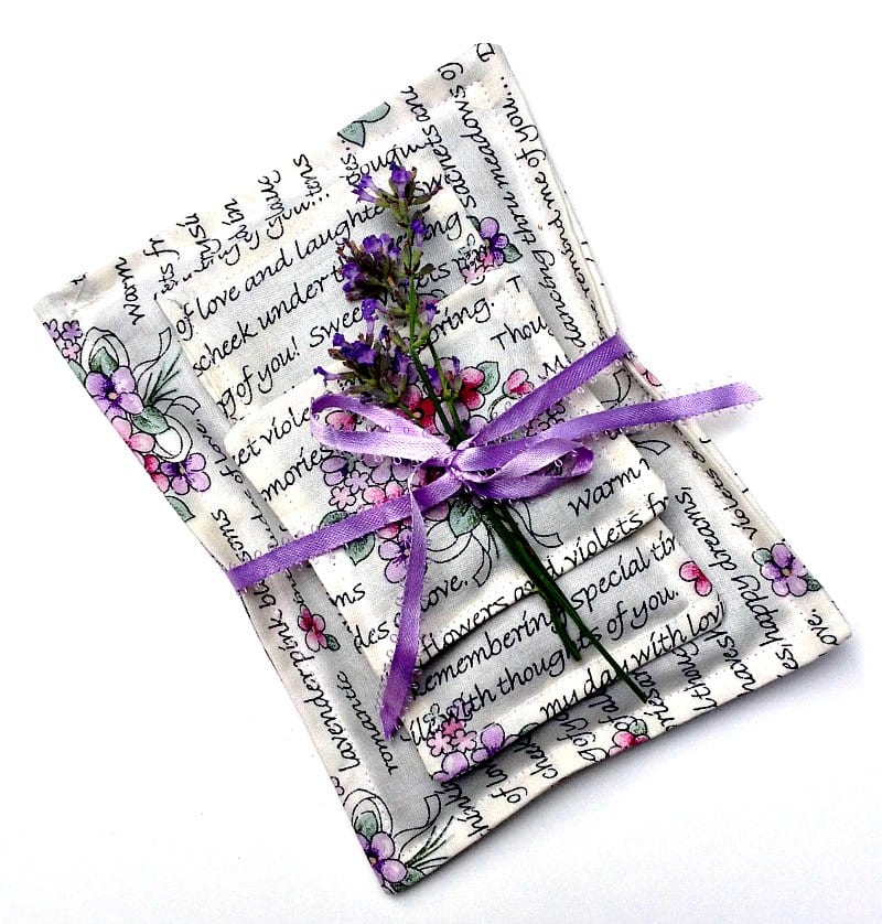 Lavender fabric sachets are great for scenting your bed linens.