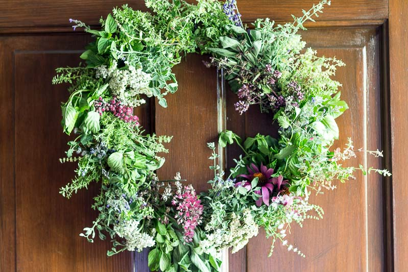 Harvest Herbal Wreath Tutorial  - Wreath on Door