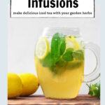 Pitcher of mint iced tea with lemon