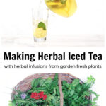 Iced tea pouring from pitcher over a basket of fresh herbs