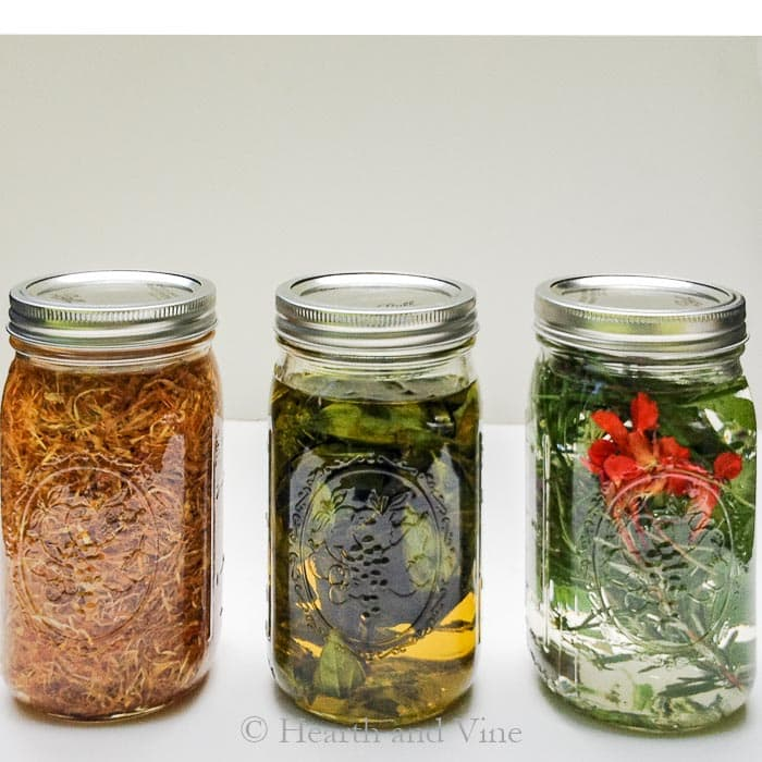 Herbal infusions, oil, vinegar in 3 mason jars