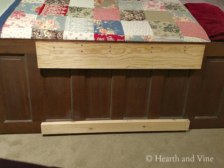 Backside of door headboard with wood cleat