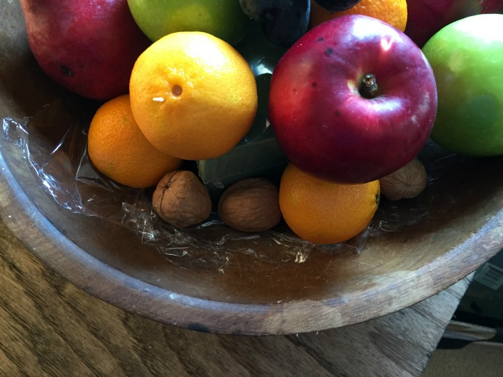Building an edible centerpiece with fruit and nuts
