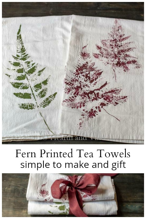 Two fern printed tea towels