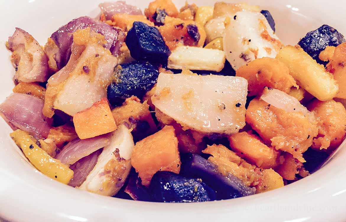 Roasted fall vegetables is the perfect side dish. It tastes great, and is also very pleasing to the eyes with all the bright colors of the season.