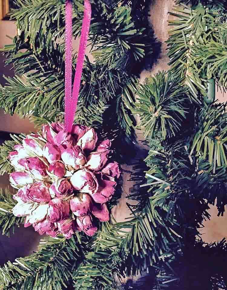 Hanging a real rosebud on the Christmas tree brings beauty and smells great.