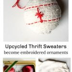 Embroidered sweater ornaments, old satin ornaments and a cable sweater