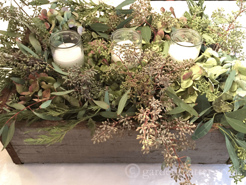 Dried hydrangea seeded eucalyptus centerpiece garden