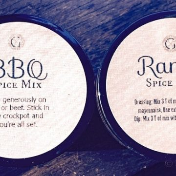 A recipe for a great BBQ and Ranch spice mix to give out as a gift. The post includes free printables for both mixes and a gift tag.