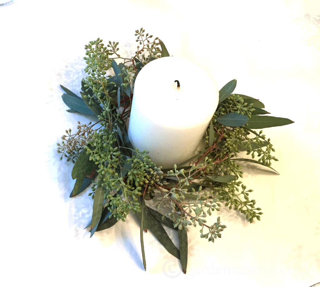 eucalyptus candle wreath