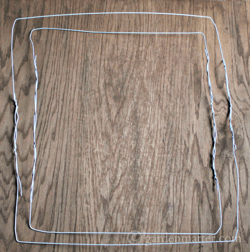 square wreath frame from wire hangers