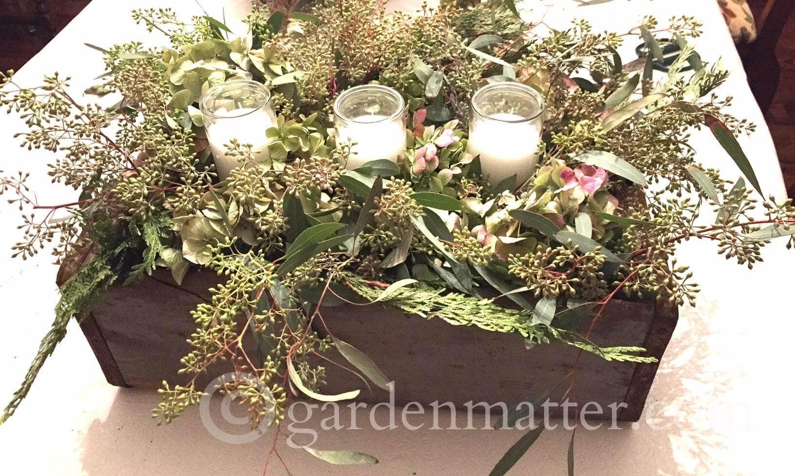 Dried Hydrangea, Cedar & Seeded Eucalyptus centerpiece