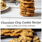 Stack of cookies over a pile of chocolate chip cookies on a plate.