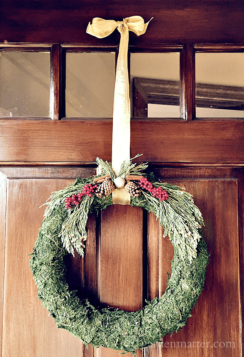 Learn how to make these easy festive moss covered wreathsin a short time. Suggestions to modify the wreath will inspire you to create a one-of-a-kind look.