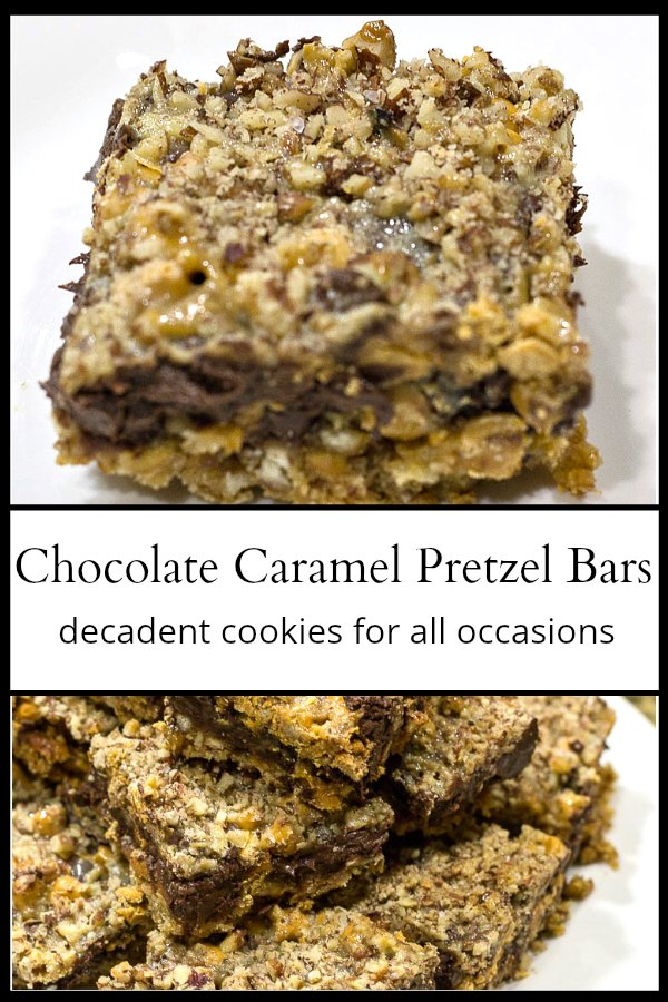 Chocolate caramel pretzel bar and a stack of them below.