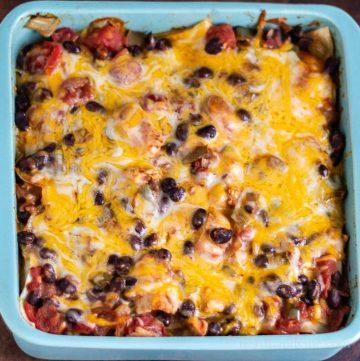 Chicken black bean tortilla casserole