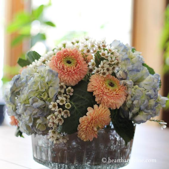 Flowers in a mercury glass vase