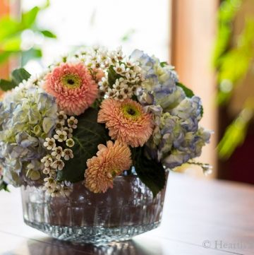 DIY flower arrangement in mercury glass.