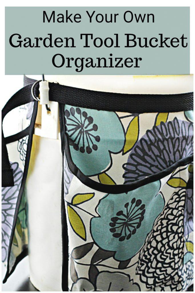 Floral print garden tool bucket organizer