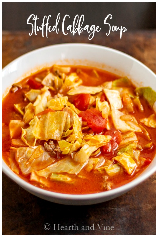 bowl of stuffed cabbage soup