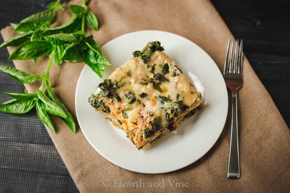 Slice of vegetable lasagna