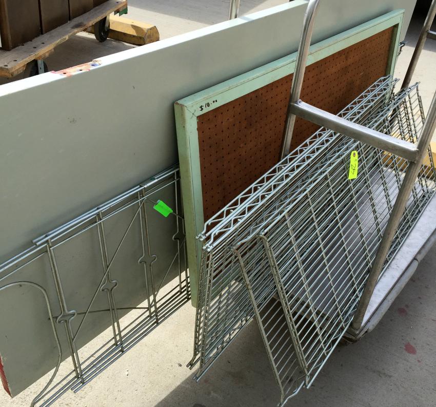 Door, pegboard and metal shelf on trolley