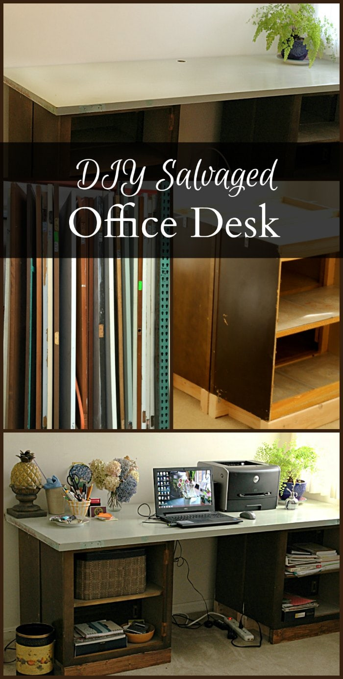 DIY office desk from salvaged kitchen upper cabinets and door. This is a super easy and affordable way to increase of storage and your working surface.