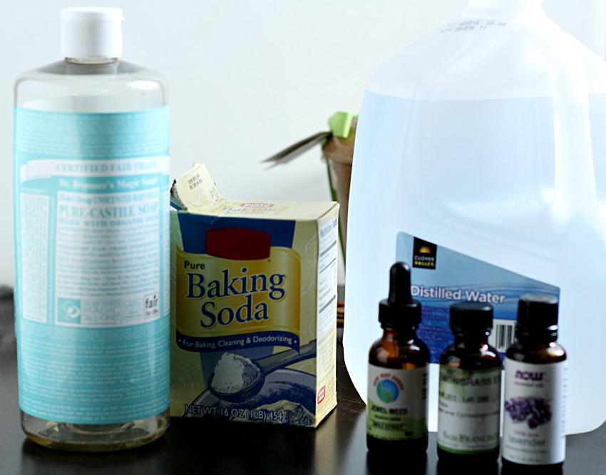 Ingredients for gardeners hand soap