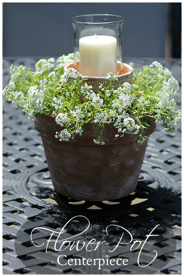 Flower pot centerpiece on outdoor table