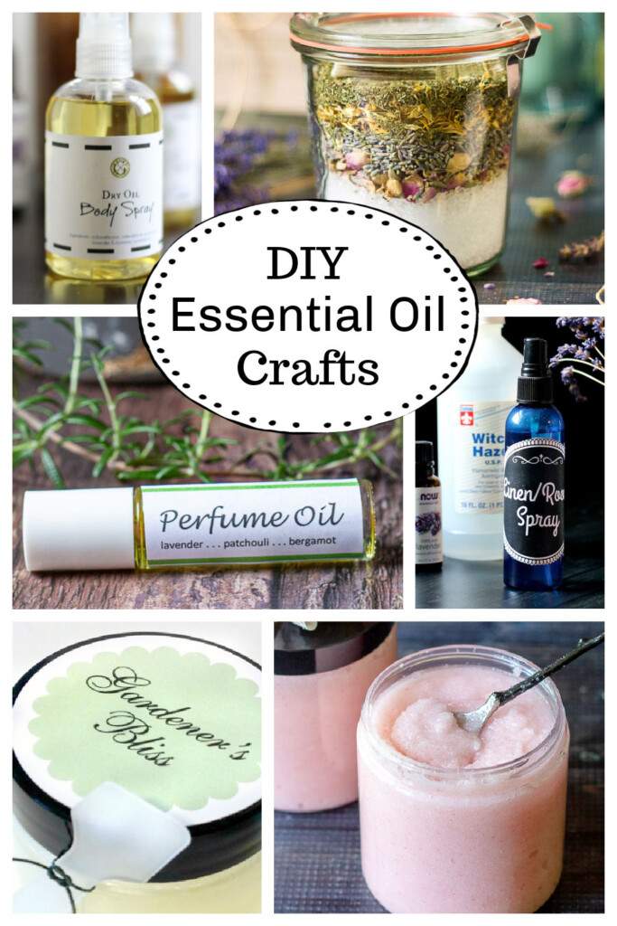 Collage of essential oil crafts, including sugar scrub, salve, room spray, perfume and bath salts.