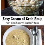 Bowl of lump crabmeat over a bowl of cream of crab soup