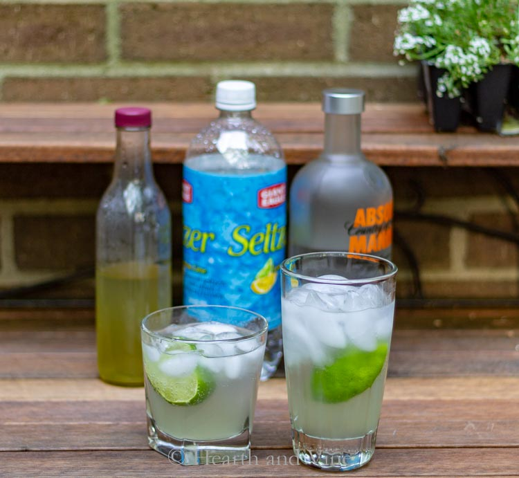 skinny Moscow mule ingredients, ginger simple syrup, seltzer and vodka