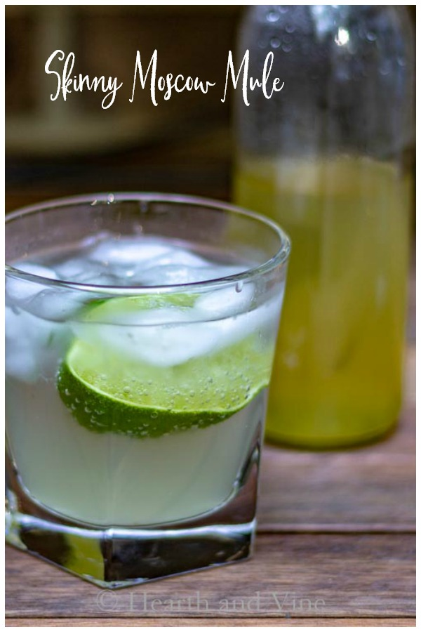 Skinny Moscow Mule glass and syrup