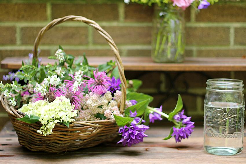 Basket of fresh cut flowers
