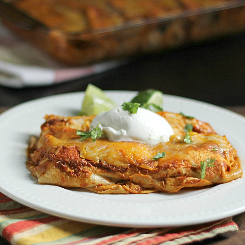 plate of chicken enchiladas