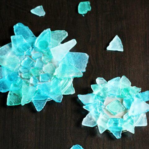Sea Glass Flowers on table