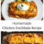 Two images. Top is a plate of chicken enchiladas and the bottom is a baking pan of the same enchiladas.