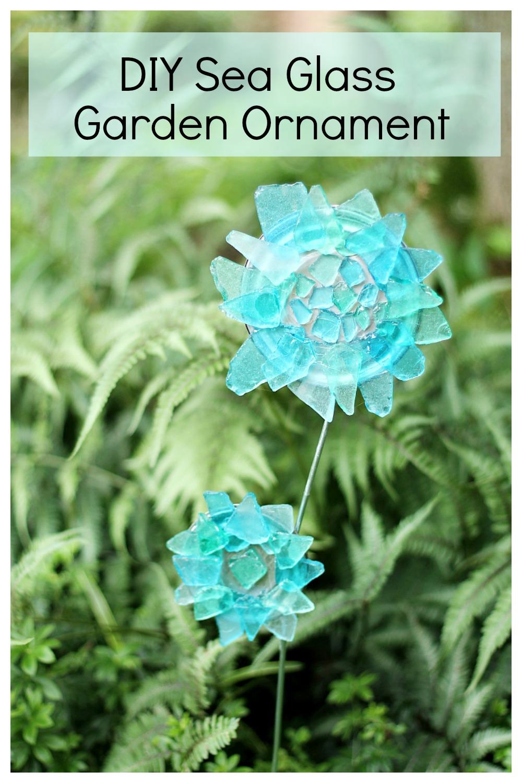 Sea glass garden ornament in garden.