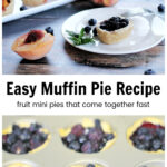 Mini muffin pies over a muffin pan with pie crust and blueberries