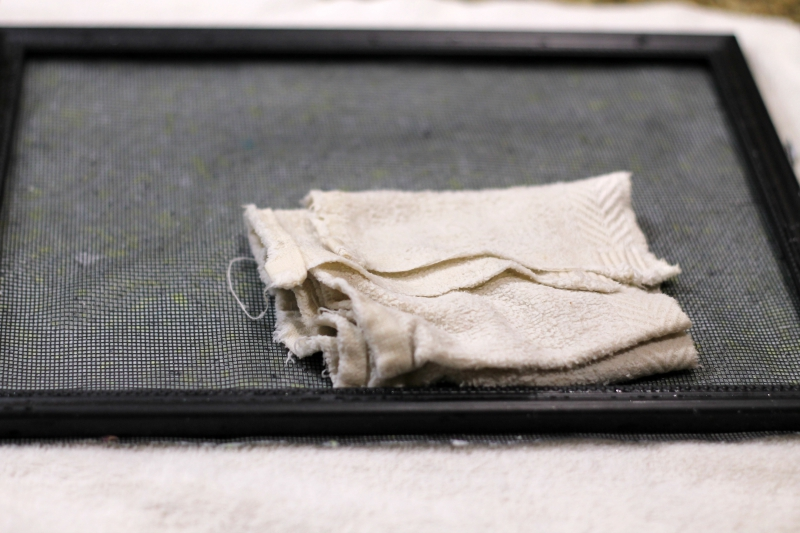 cloth on frame to absorb moisture