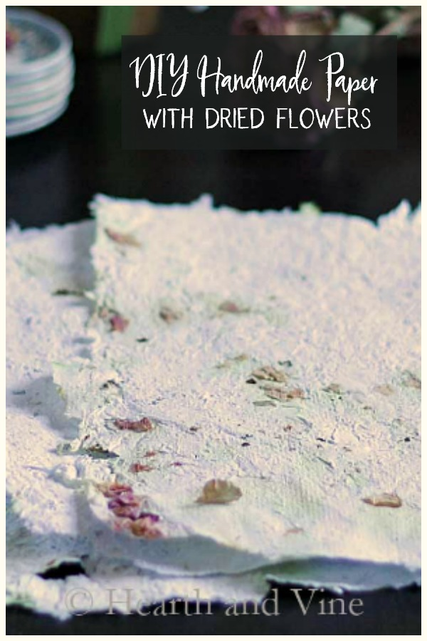 DIY handmade paper with flowers