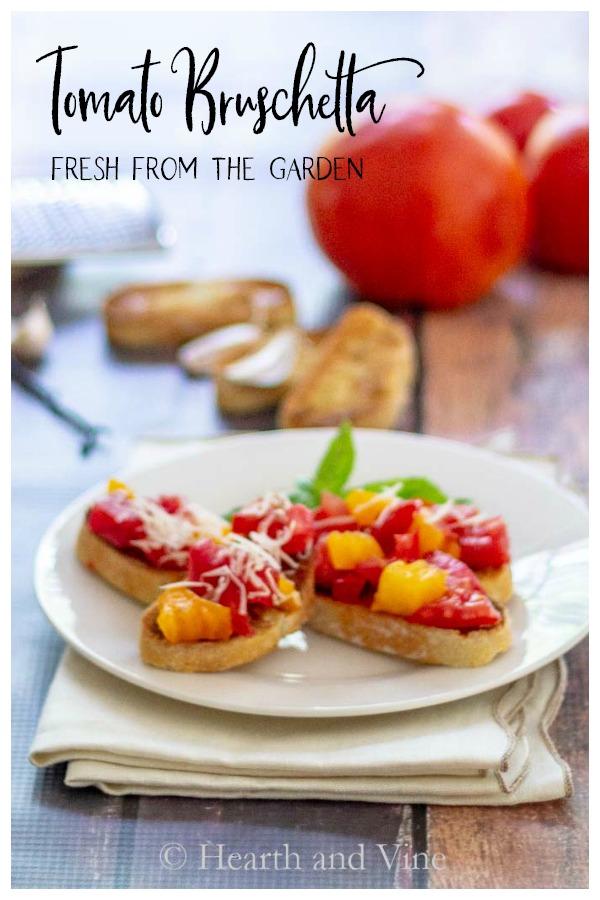 Plate of garden summer tomato bruschetta