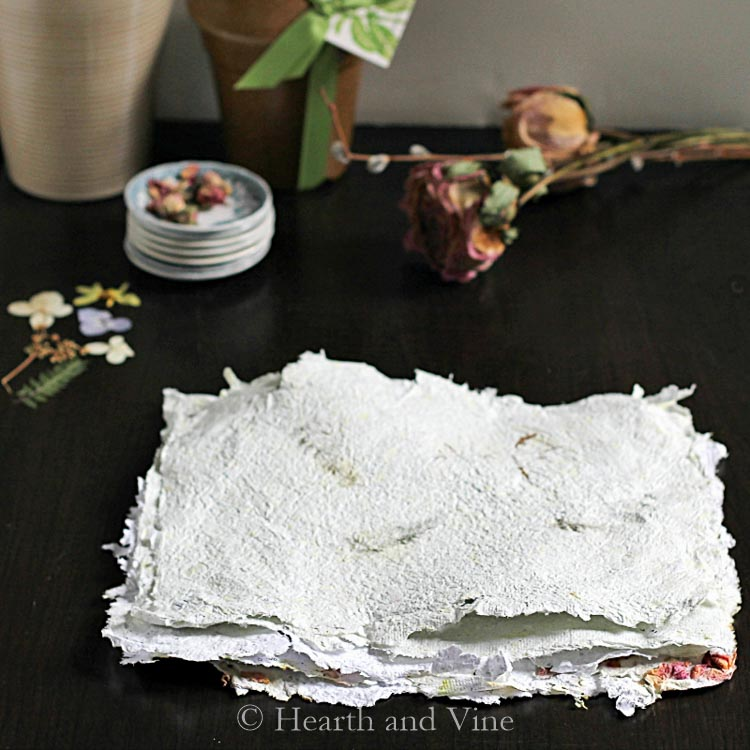 Stack of handmade flower paper