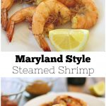 Collage of steamed shrimp with lemon wedge