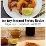 Plates of steamed shrimp, bottle of beer and seasonings.