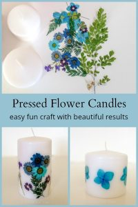 Blank white pillars, pressed flowers and candles with flowers.