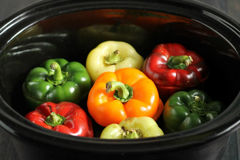 Bell peppers in slow cooker